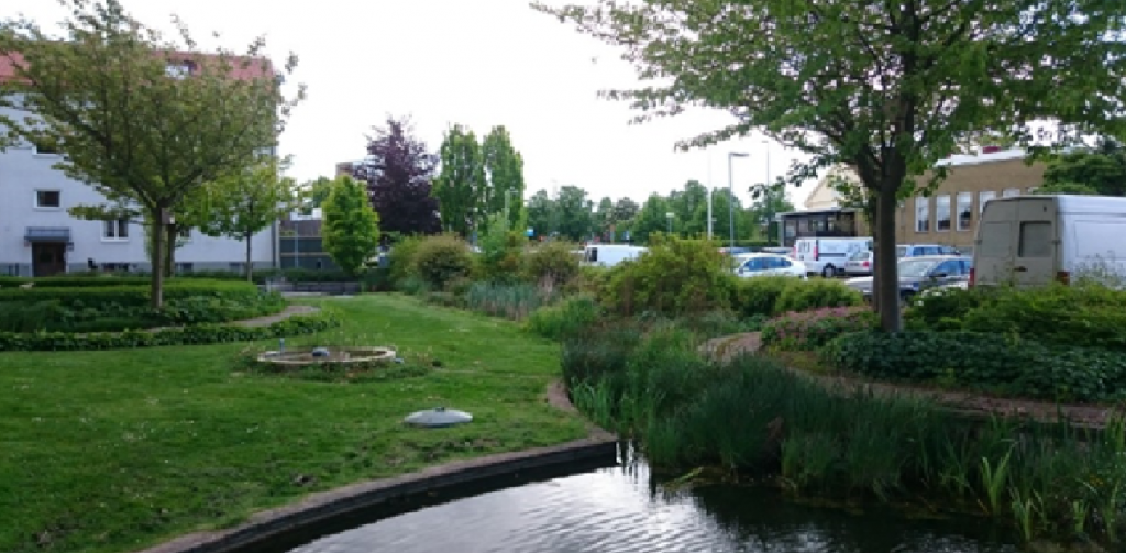 Copenhagen green space with water retention infrastructure.