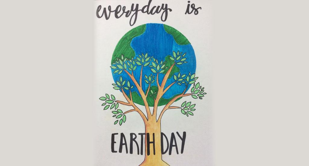 Nistha Jain of Vidya Devi Jindal School, Hisar, Haryana is the artist of this painting. Jain is a Class X student. This painting was made as a tribute to the 50th anniversary of Earth Day, observed and celebrated virtually on April 22, 2020 by the students of the school.