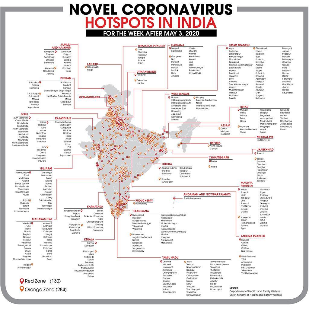 Novel coronavirus hotspots in India for week after May 3