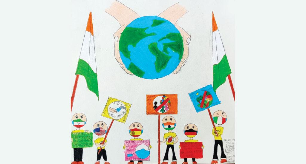 Aasvi Dasota, a student of MSMS Vidyalaya, Jaipur, Rajasthan, is the artist of this painting. Dasot, a Class 8 student, has used art to express solidarity with people from different parts of the world, especially during a crisis such as the COVID-19 pandemic.