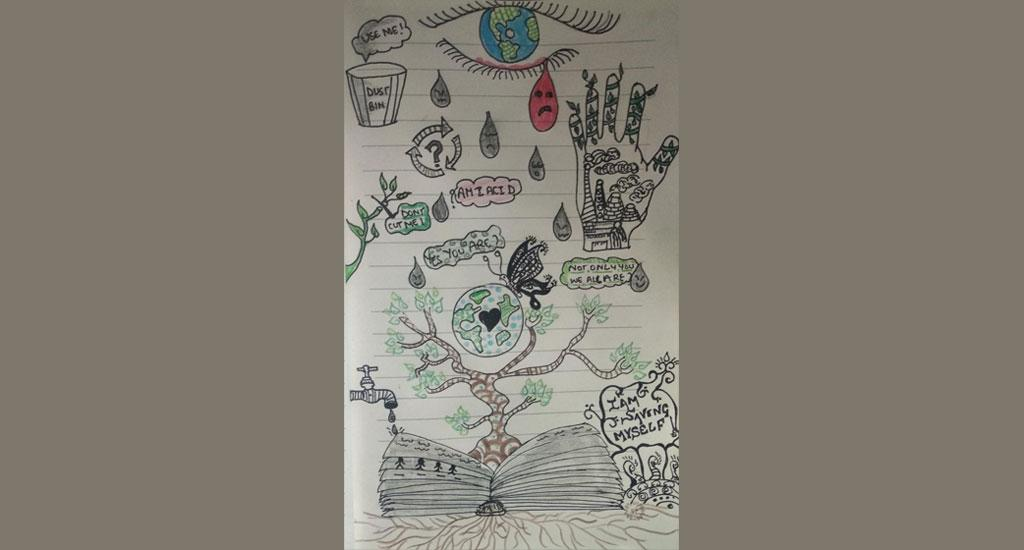 This doodle art is the work of Vignesh of Dipalaya School, New Delhi. In this doodle Vignesh, who is a student of Class 11, has tried to show how protecting the environment is the only way to ensure the well-being of humans and the planet they call home.