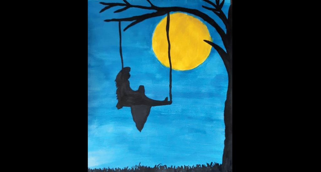 This painting was made by Trishelle Joseph of Global Public School, Ernakulam, Kerala. Joseph, who is a student of Class 7, described her painting as narrating the story of a girl who is enjoying the cool breeze on a swing in the company of a book.