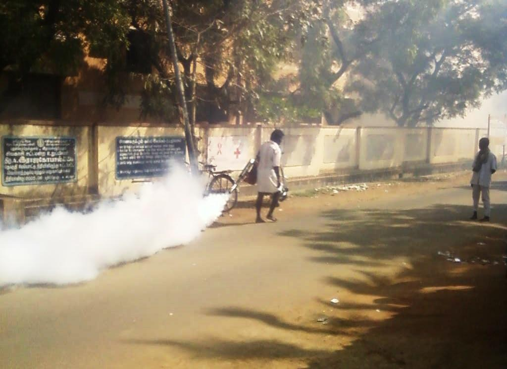 Fumigation underway to control dengue spread. Source: Wikimedia Commons