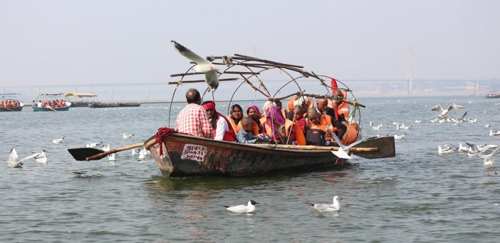 Gulls hover around a pilgrim boat at the Sangam. Photo: Tripti Shukla
