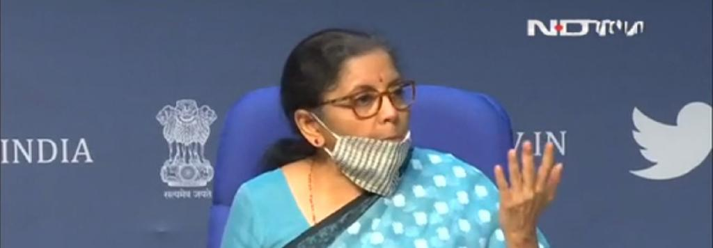 Nirmala Sitharaman at press conference to explain finacial package to fight COVID-19