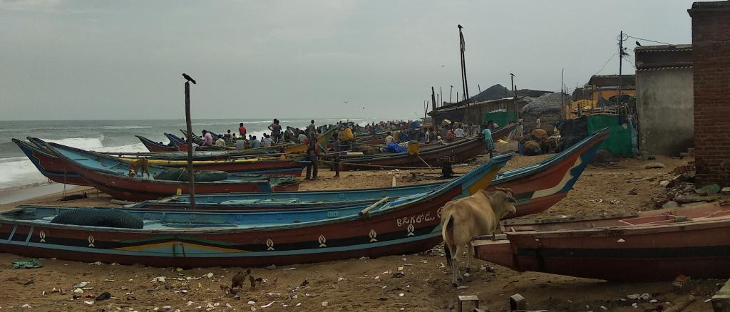 Fishermen moored their boats at the beach in Puri fearing cylcone. Photo: Ashis Senapati
