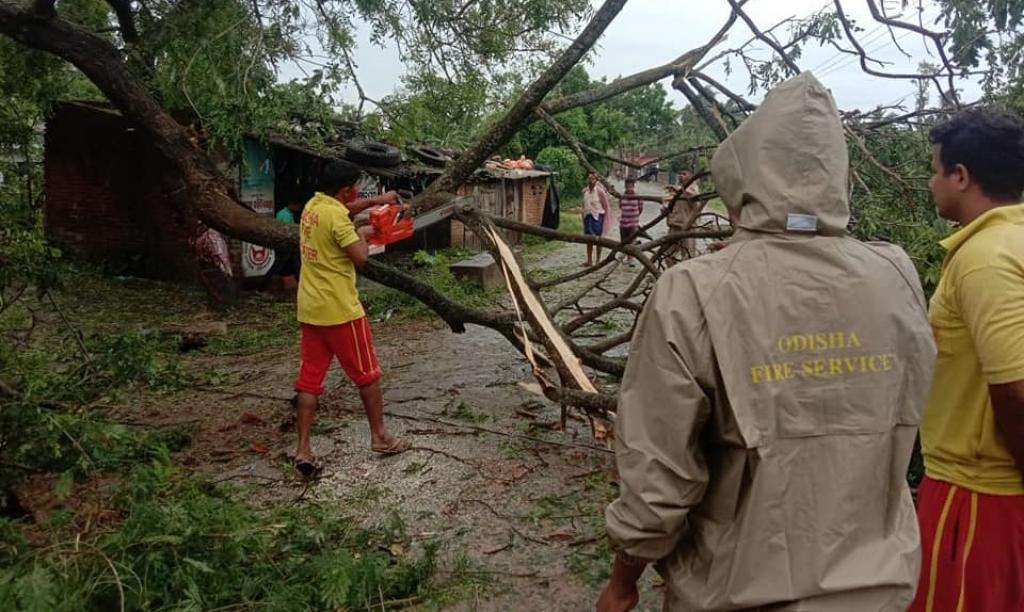 Rescue personnel clearing road in Jagatsinghpur district. Photo: Priya Ranjan Sahu