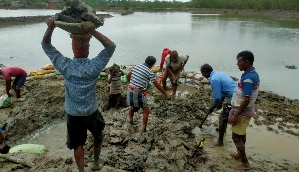 Workers repairing a damaged embankment. Photo: Jayanta Basu