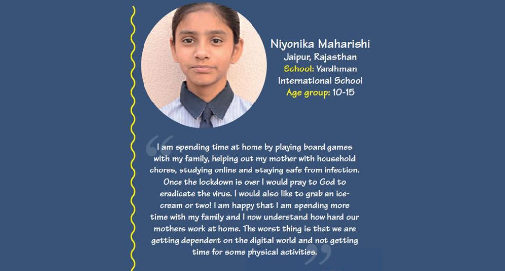 Niyonika Maharishi is a student of Vardhman International School, Jaipur, Rajasthan.