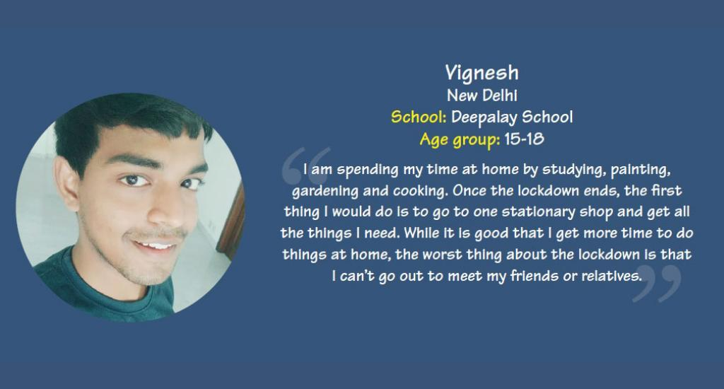 Vignesh is a student of Deepalaya school, New Delhi.