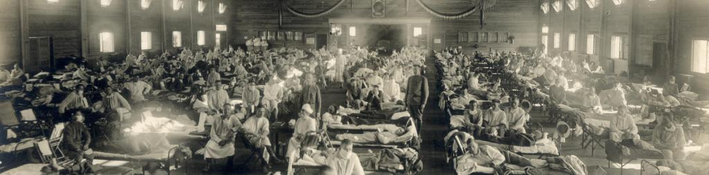 An emergency hospital during the influenza epidemic in Camp Funston, Kansas, United States Photo: Wikimedia Commons