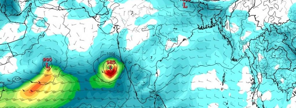 Two low pressure areas in the Arabian Sea currently could develop into cyclones. Photo: @G33kBoyRavi / Twitter