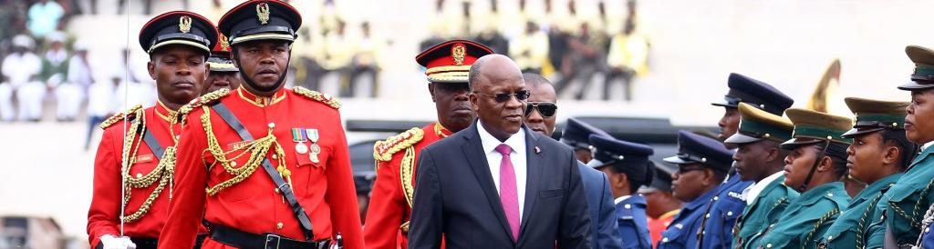 Tanzanian President John Magufuli attends a ceremony marking the country's 58th independence anniversary in 2019. Stringer/AFP via GettyImages