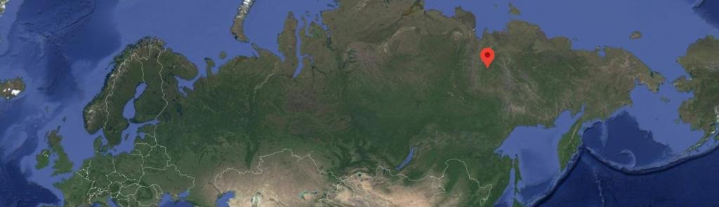 Verkhoyansk in Siberia, shown here by the red dot, is usually known as one of the coldest towns in the world. Photo: Google Earth