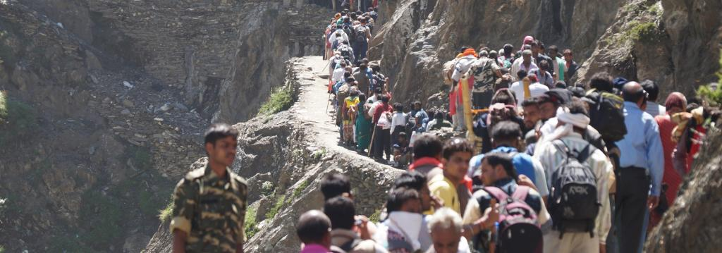 Pilgrims have to not only travel hundreds of kilometres but also embark on a long trek to the Amarnath cave shrine Photo: Wikimedia Commons