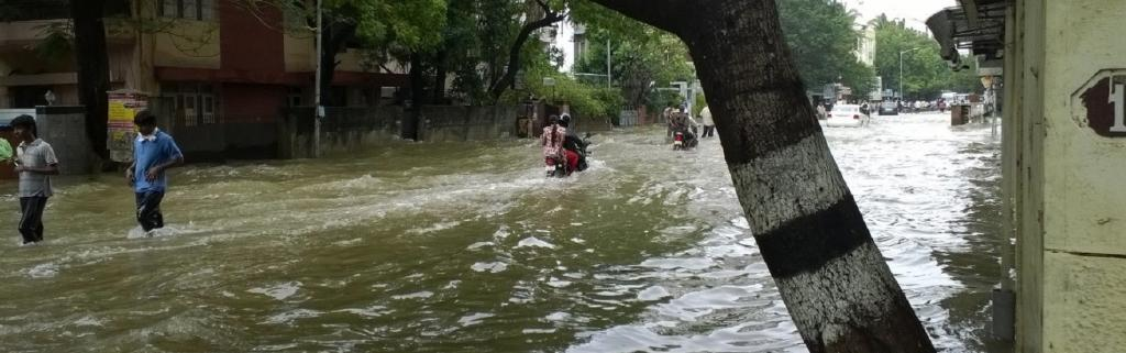 Waterlogging — a prelude to urban flooding — is a common sight in urban India during the monsoon. Chennai faced floods in 2015. Photo: Wikimedia Commons