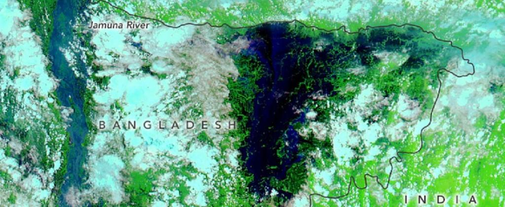 A NASA image taken on July 25, 2020, showing the inundation of the country's northeastern part in navy blue. Photo: NASA Earth Observatory