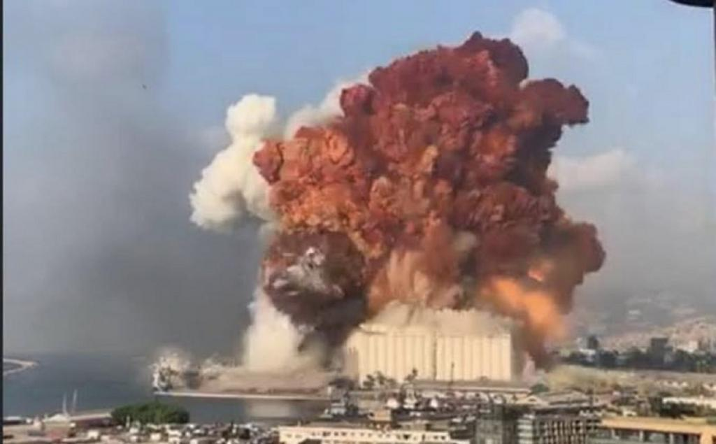 Lebanon's prime minister Hassan Diab said the blast was caused by around 2,700 tonnes of ammonium nitrate stored near the city's cargo port. Photo: Twitter / @marwa_zain96