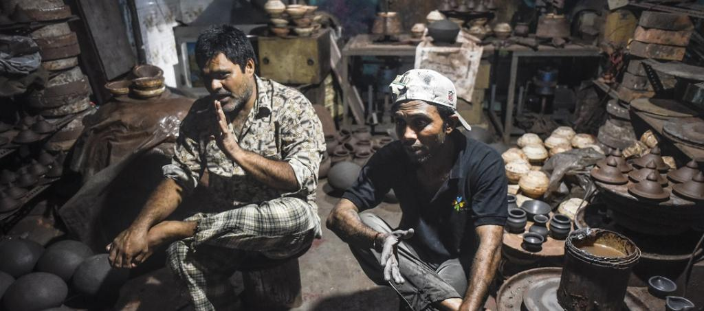 Dawood Sulaman (left) and Deepak Singhadia (right), both potters from Dharavi's Kumbharwada, said neither the government nor any civil society organisation gave them any kind of help. They are now staring at food shortage. Photo: Adithyan PC