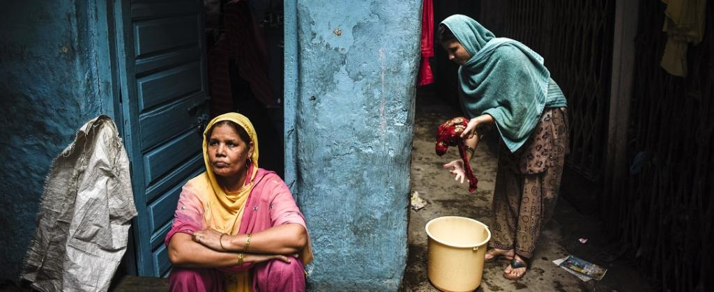Mehrul Nisha lives near the mosque at Dharavi Crossroads. She is a single-mother and used to earn her living by tailoring at home. But it has stopped completely since the lockdown and now she might have to discontinue the education of her daughters. Photo: Adithyan PC
