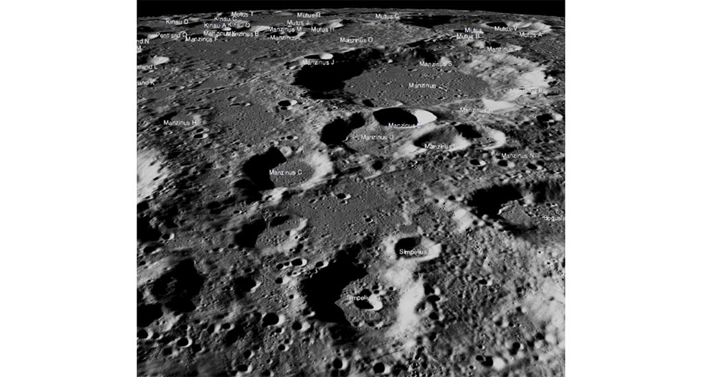 The flat highland between Simpelius N and Manzinus C craters was the planned landing zone for the Vikram lander. Image obtained by National Aeronautics and Space Administration's Lunar Reconnaissance Orbiter intended to find the lost lander, known to have crash-landed on September 6, 2019. Photo: Wikipedia