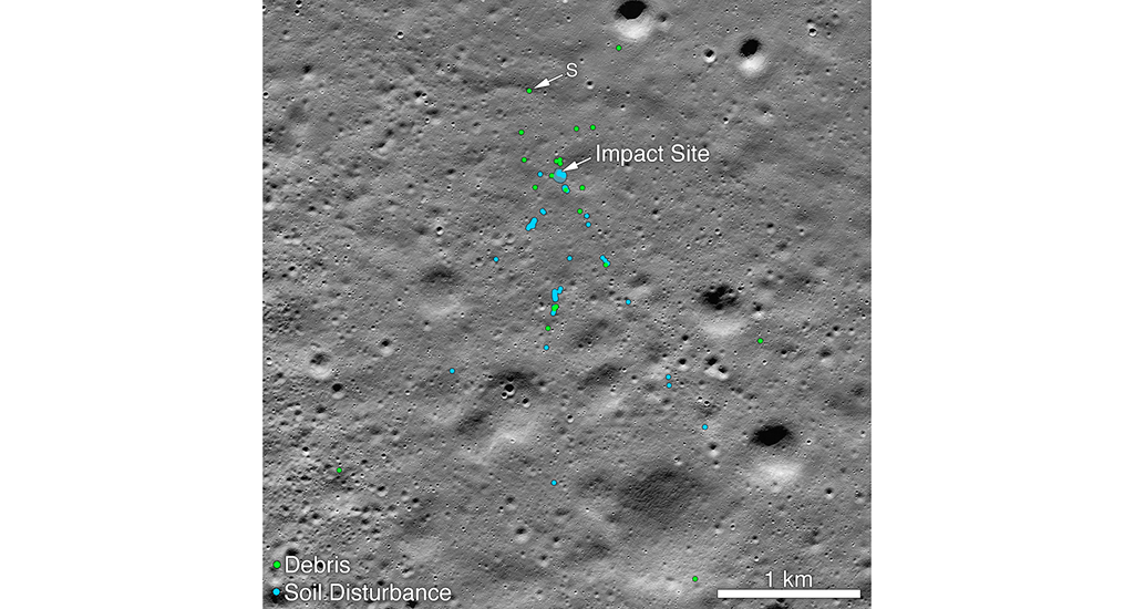 "Vikram impact point and associated debris field. Green dots indicate spacecraft debris (confirmed or likely). Blue dots locate disturbed soil. ""The anticipated long life of this orbiter can contribute much to the current resurgence of interest among the global scientific community for a sustained presence on the Moon,"" the space agency said. Photo: Wikipedia"