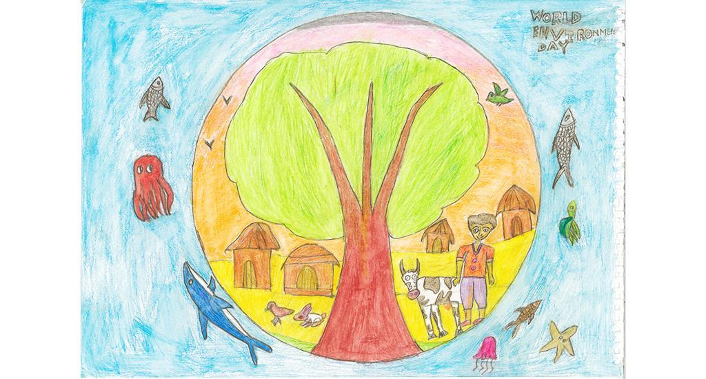 The drawing was made by Arin Basu, a class 3 student at Nirmal Bhartia School, Dwarka, New Delhi.