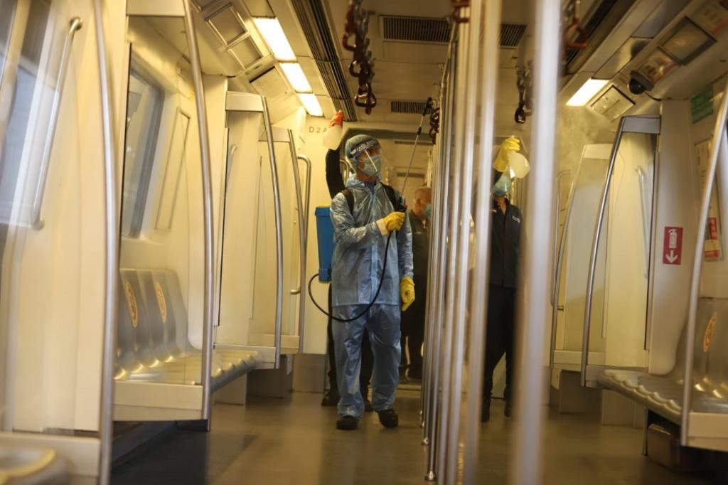 Sanitisation process underway in Delhi metro trains. Metro services were allowed to be resumed across the country recently. Photo: Twitter / Delhi Metro Rail Corporation / @OfficialDMRC
