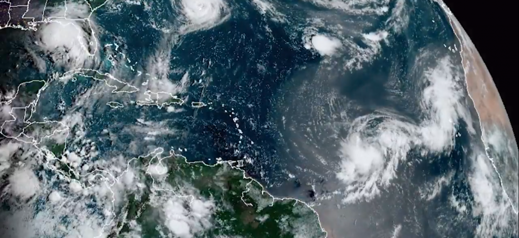 Five tropical storm systems were brewing in the Atlantic ocean at the same time for only the second time on record on September 14. Photo: NOAA