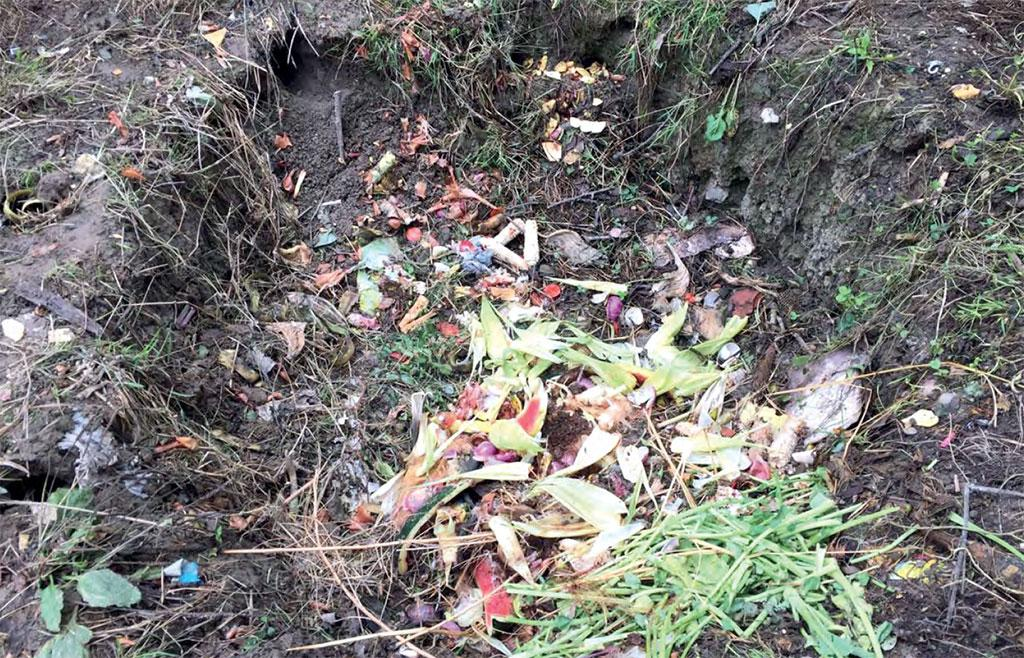 A compost pit at a residence in Srinagar. Almost 80 per cent families have open spaces and can easily start in-house composting of wet waste