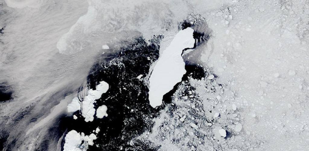 Global Eco Watch: Drifting iceberg threatens seals, penguins on British Antarctic island. Photo: NASA