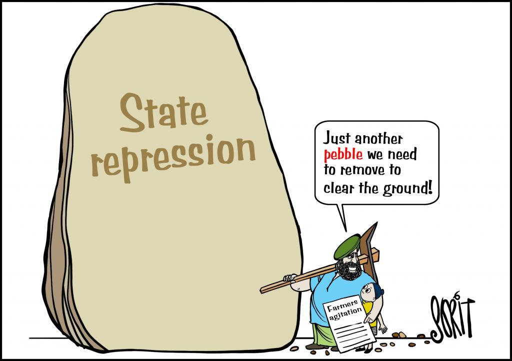 Farmer protest cartoon: Sorit Gupto