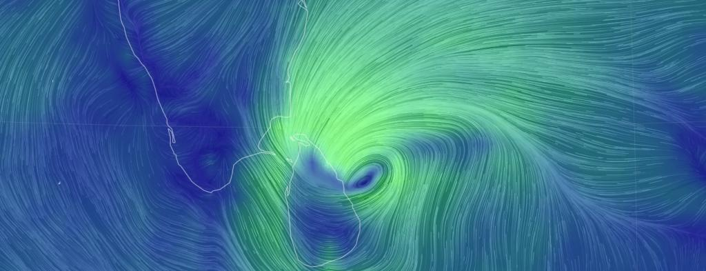 Cyclone Burevi hurtling towards Trincomalee on Lanka's east coast. Photo: Earth Null School