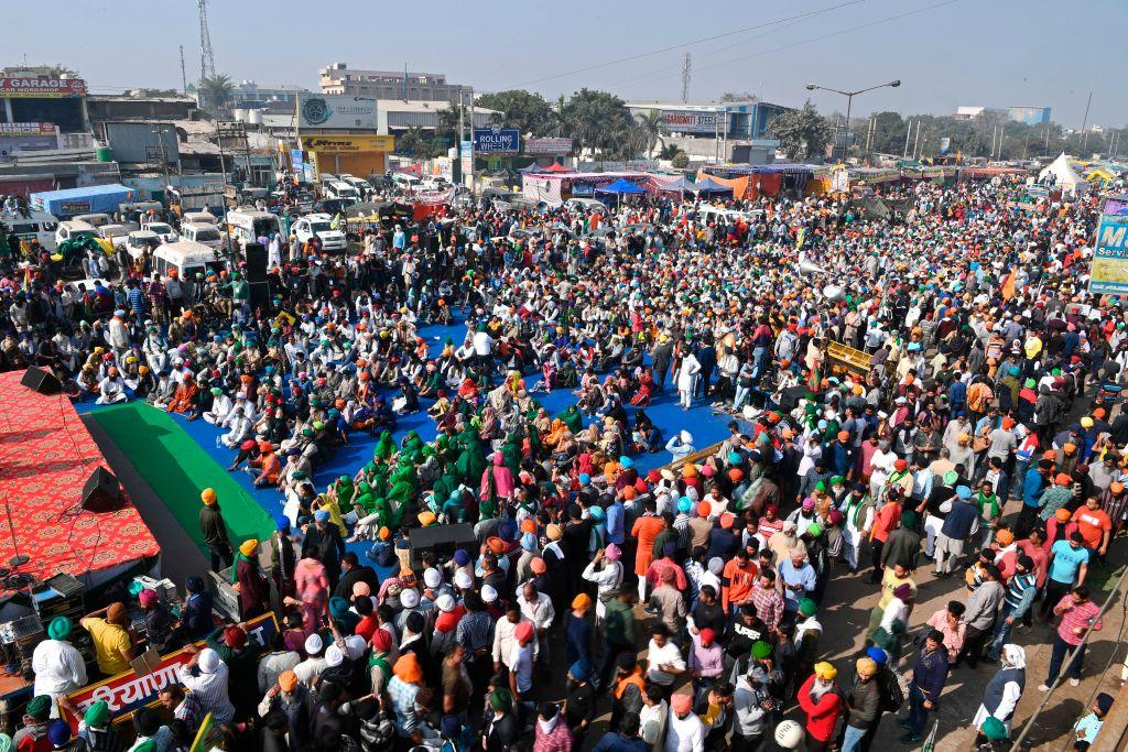 Farmers have been protesting against the Centre's new farm laws since November 26 on Delhi borders. Photo: Twitter