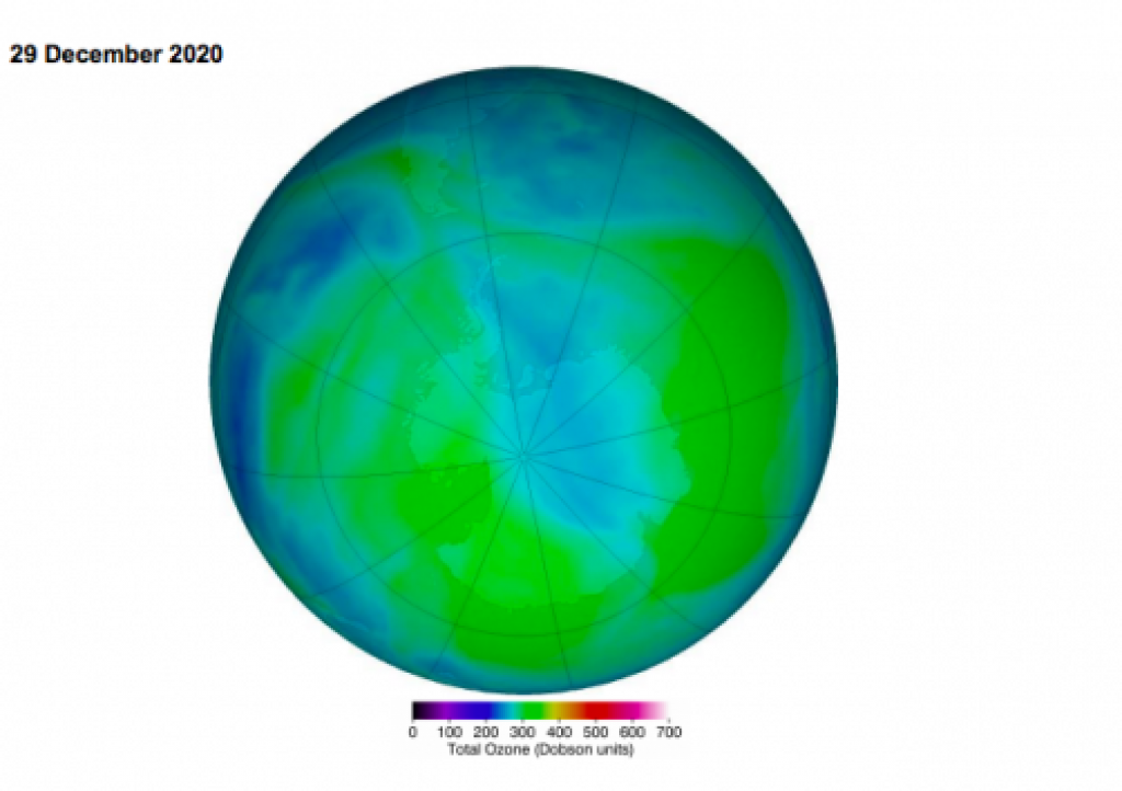 False colour view of the total ozone over the Antarctic pole. Photo: Ozone Hole Watch, NASA