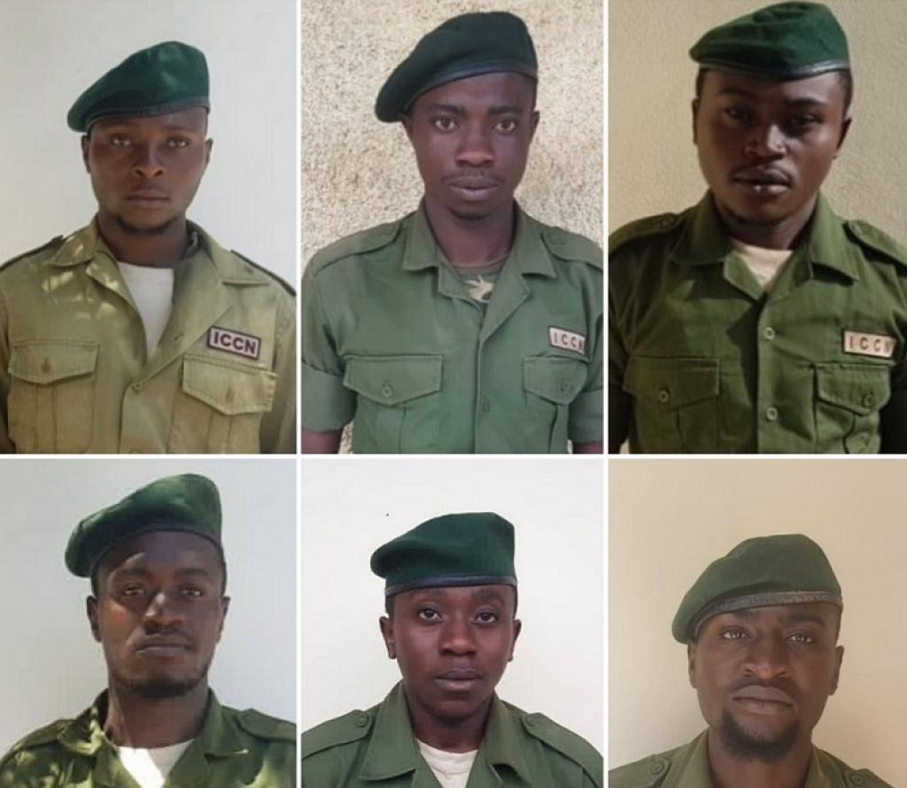 The six rangers who were killed. Photo: @Tom_Rwanika / Twitter