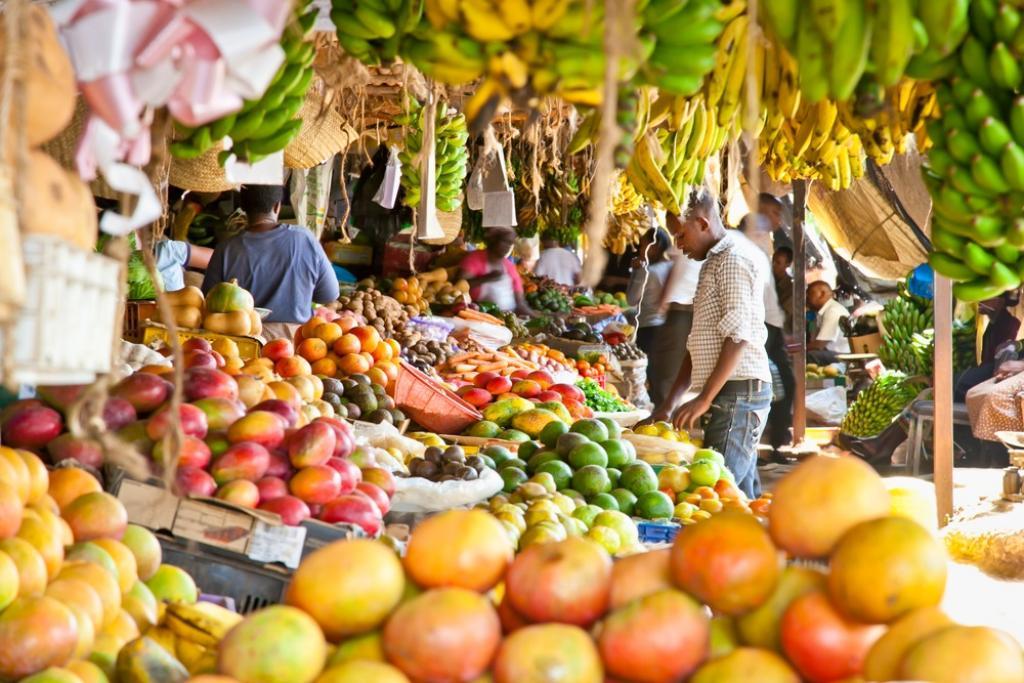 A fruit and vegetable market in Kenya
