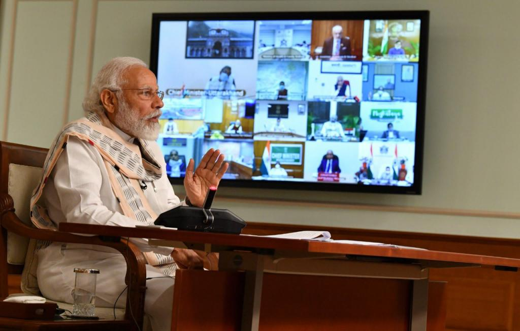 Prime Minister Narendra Modi at a video conference with chief ministers of states. Photo: PIB India