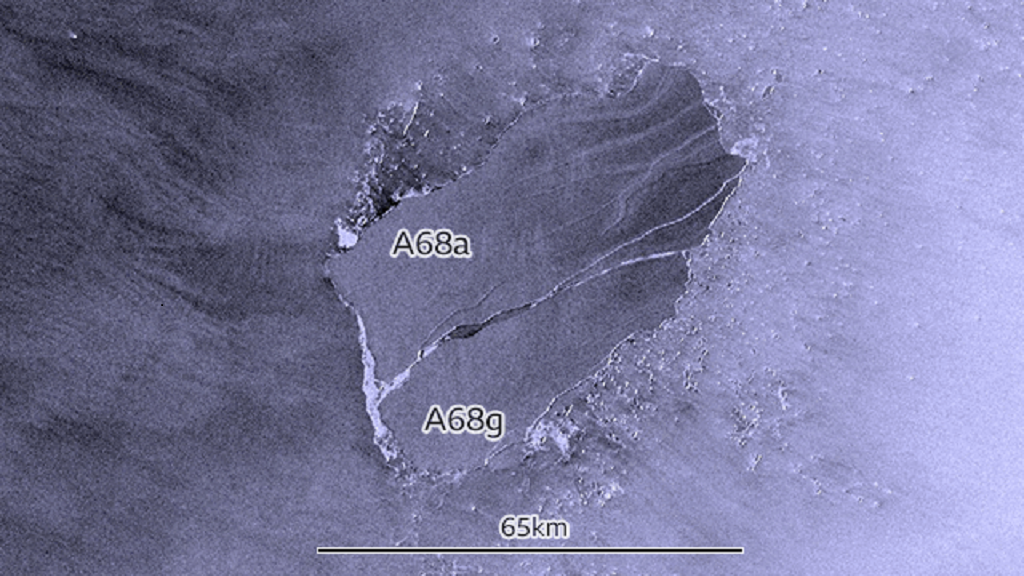 Once the biggest iceberg in the world, A86a suffered another major split. Photo: COPERNICUS/SENTINEL-1