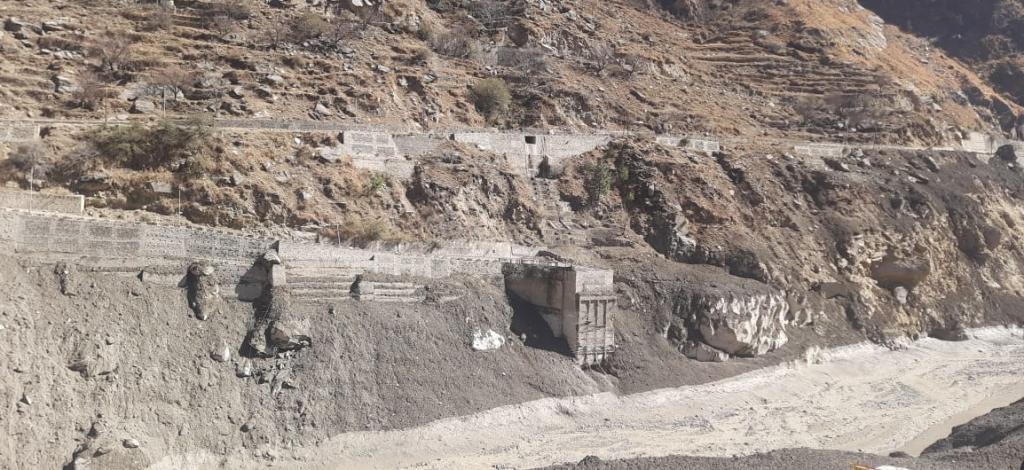 The devastated Rishiganga power project at Tapovan, Uttarakhand. Photo: Manmeet Singh