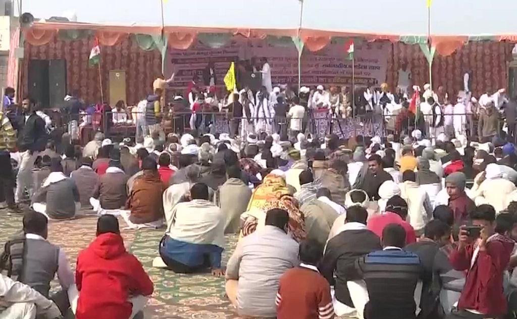 A mahapanchayat underway in Jind, Haryana. Photo: ANI/Twitter