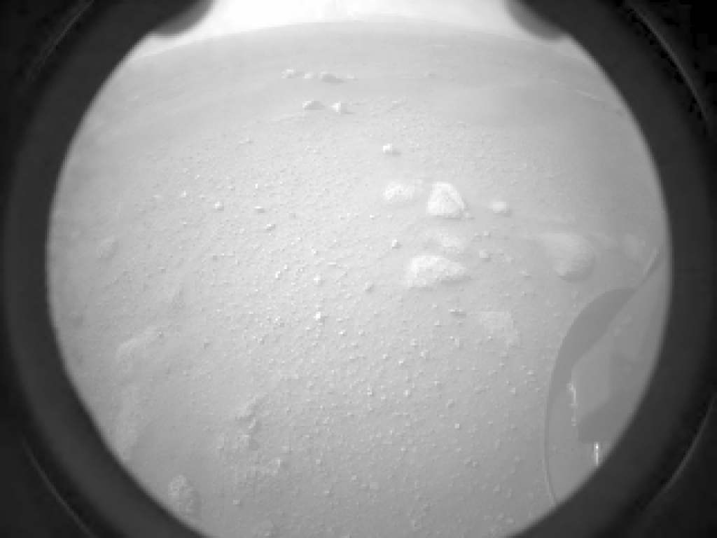 Raw image of the Red planet from the rover. The NASA Perseverance Rover successfully touched down on Mars February 18, 2021. Photo: NASA