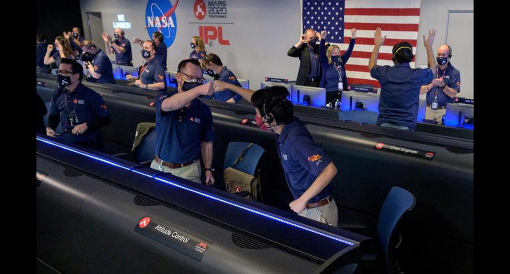 Members of NASA's Perseverance rover team react after receiving confirmation the spacecraft successfully touched down on Mars, at NASA's Jet Propulsion Laboratory in Pasadena, California, February 18. Photo: NASA