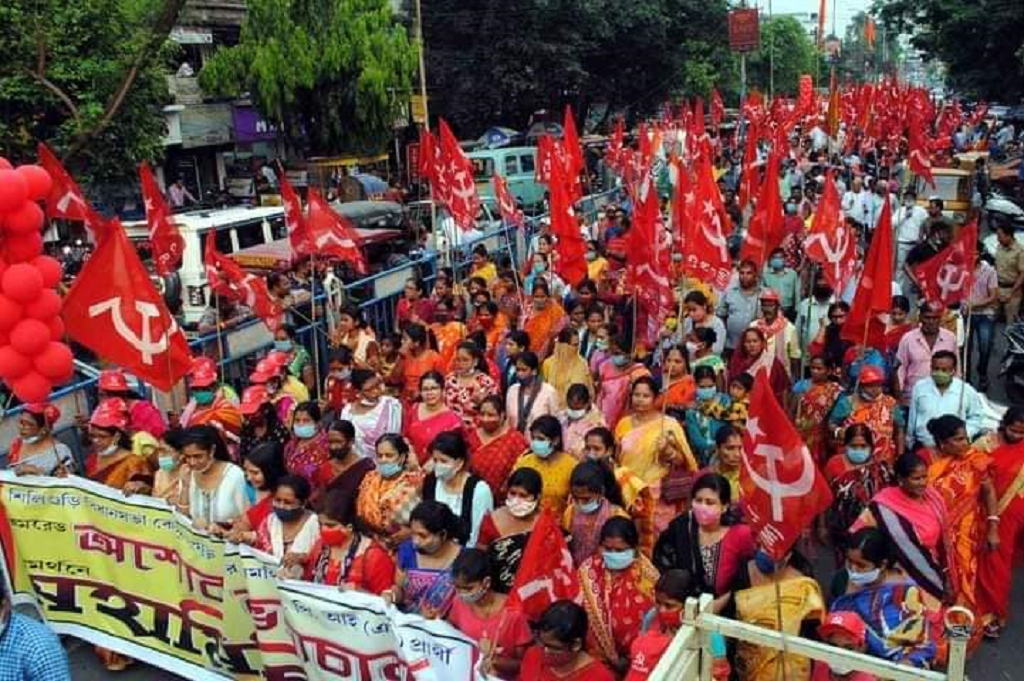 Sujan Chakraborty, member of CPI(M), led a rally in Siliguri, West Bengal on April 14, 2021. Photo: CPIM_WestBengal/Twitter