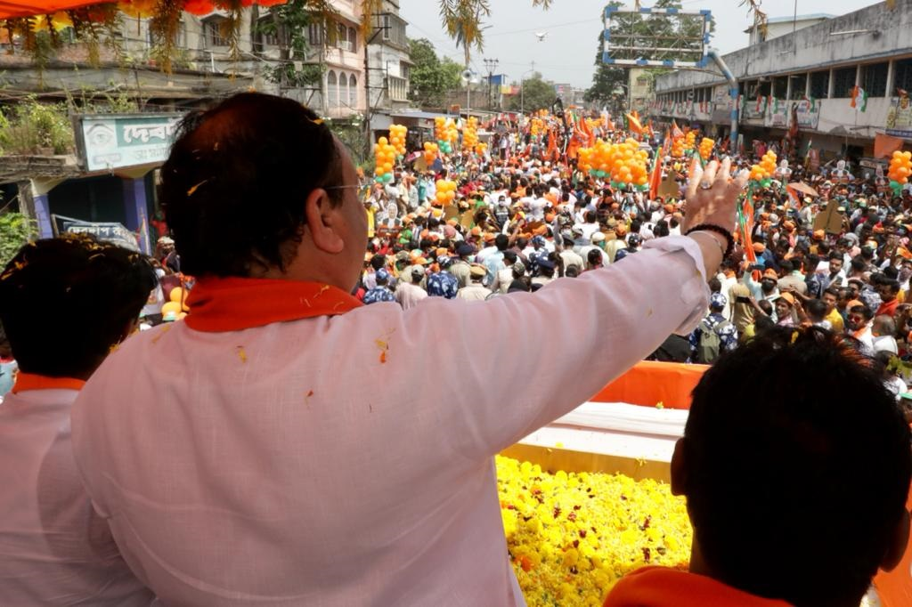 J P Nadda, president of Bharatiya Janata Party, speaking at a road show in West Bengal on April 14, 2021. The country is witnessing a second spurt of COVID-19 cases since the beginning of March, 2021. The number of new cases in India was over 185,000 as on April 13, 2021. Photo: BJP4India/Twitter
