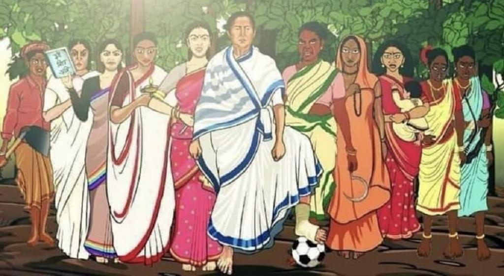 This painting showing Mamata Banerjee surrounded by other women has gone viral on social media. The artist is not known.