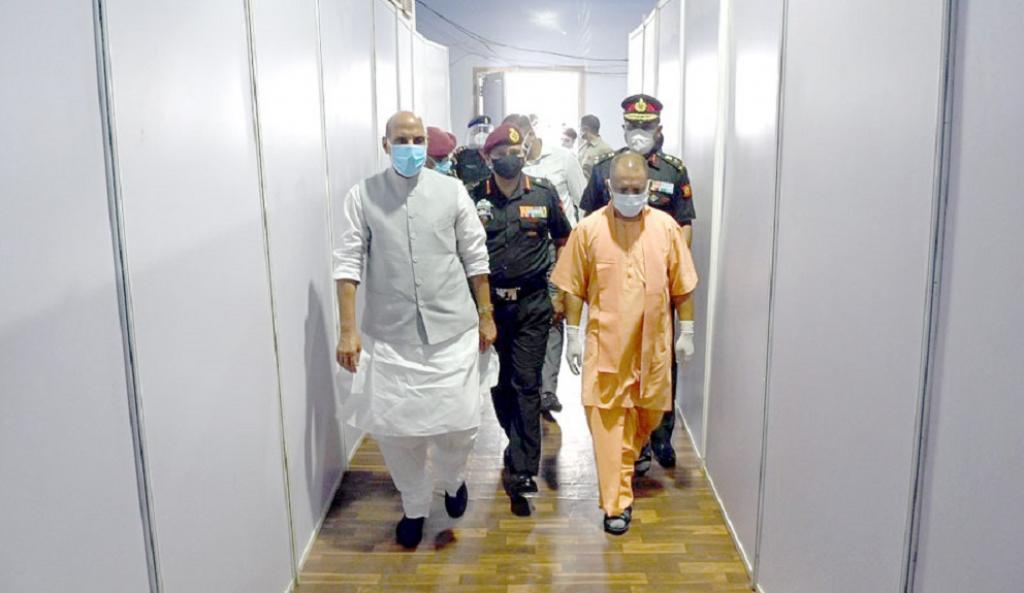 UP CM Yogi Adityanath and Union Defence Minister Rajnath Singh visit the Atal Bihari Vajpayee Covid Hospital in Lucknow. Photo: @myogiadityanath / Twitter