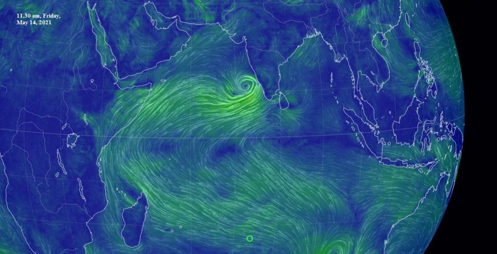Formation of Cyclone Tauktae May 14 morning. Image: Earth NullSchool
