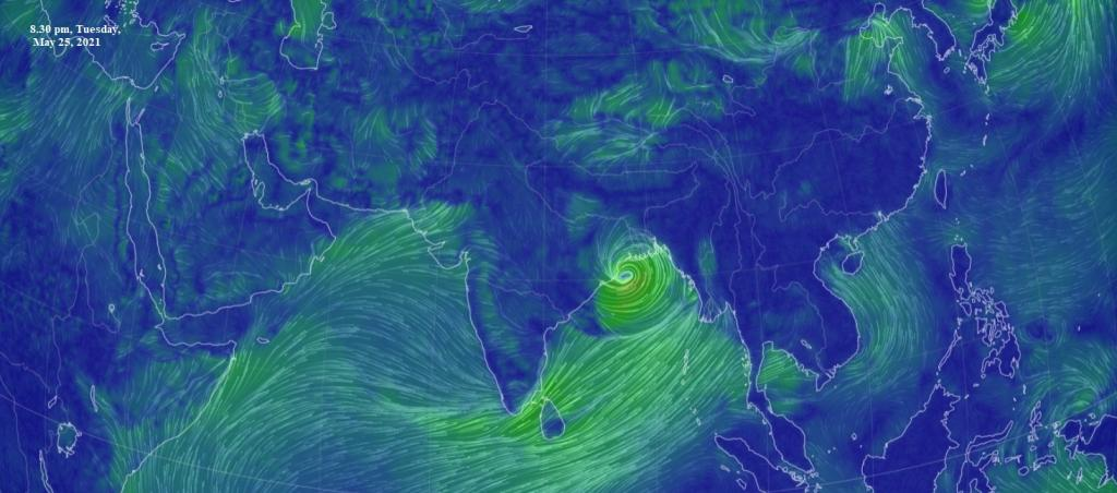 Cyclone Yaas May 25 evening. Image: Earth NullSchool