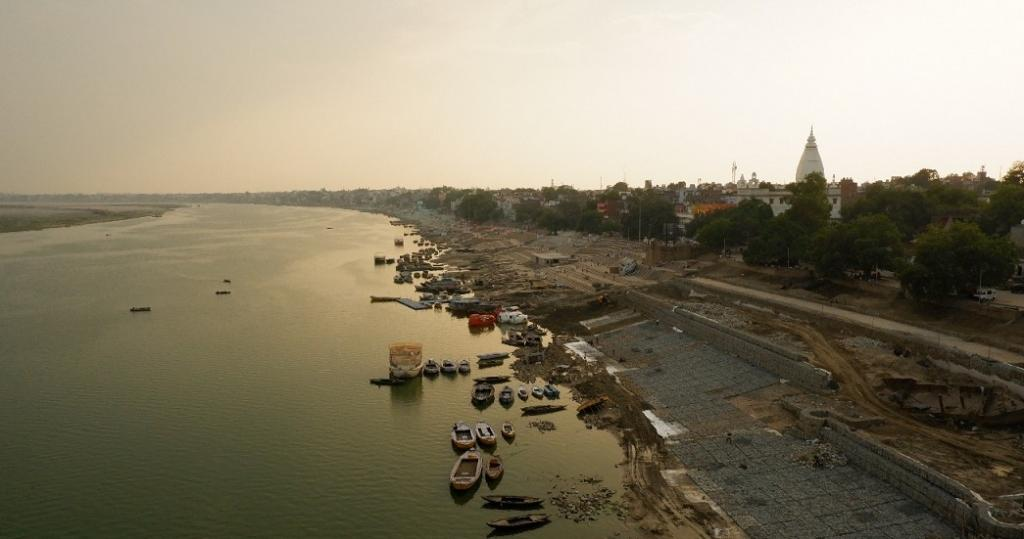 An aerial view of Varanasi's deserted ghats, otherwise thronged by devotees, tourists and locals. Photo: Dhruval Parekh.